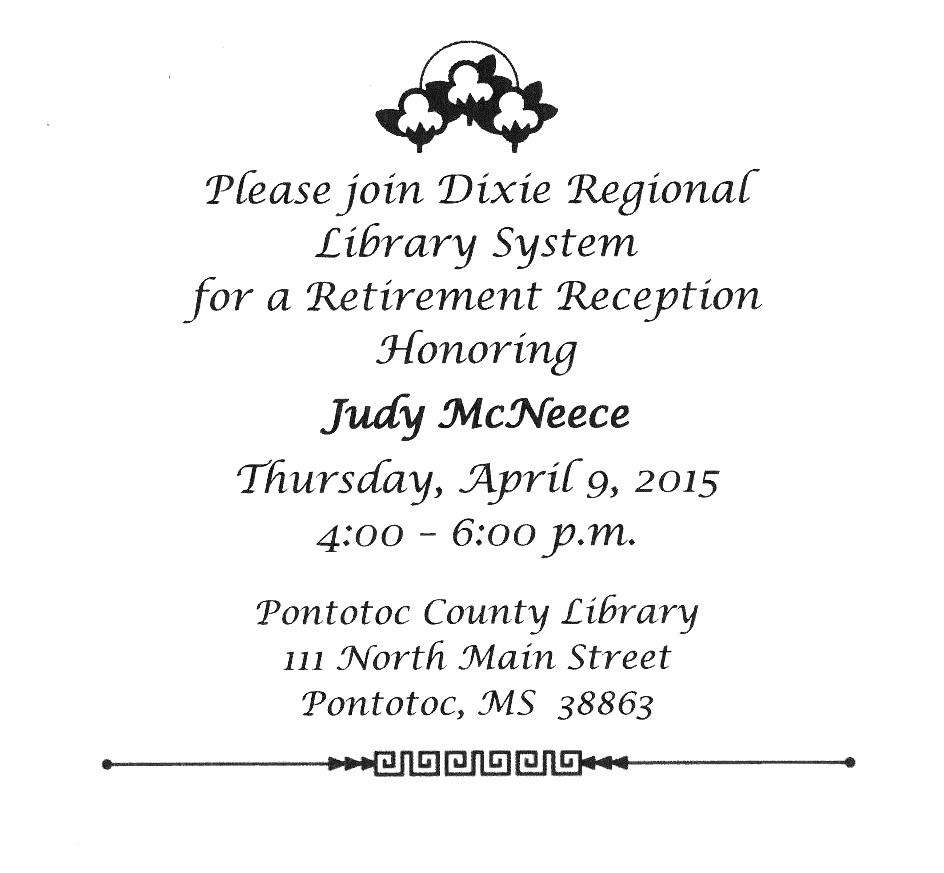 invitation to judy s retirement reception