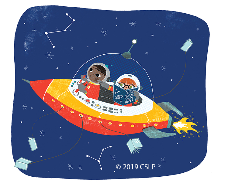 Two children in spaceship flying through constellations. They have a book to help navigate and extensions from the spaceship are books.