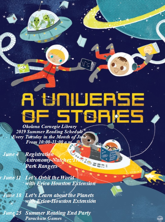 Okolona Carnegie Library 2019 Summer Reading Schedule Every Tuesday in the Month of June From 10:00-11:00 a.m. June 4 Registration Astronomy-Natchez Trace Park Rangers. June 11 Let's Orbit the World with Erica Houston Extension. June 18 Let's Learn about the Planets with Erica-Houston Extension. June 25 Summer Reading End Party Parachute Games