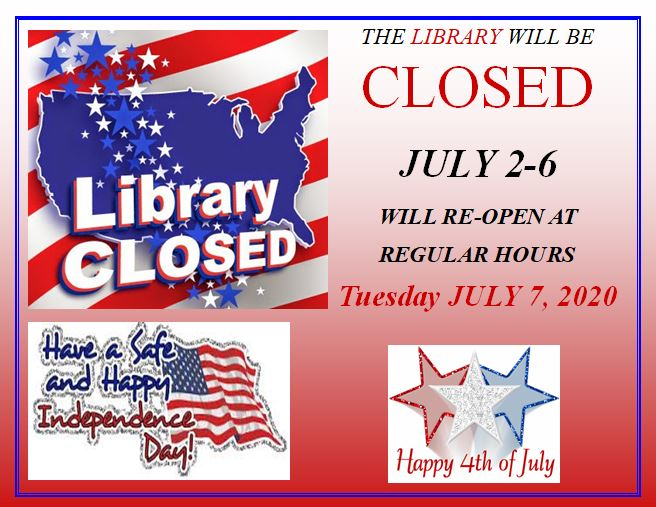 The Okolona Carnegie Library will be CLOSED Thursday, July 2 through Monday July 6. The library will re-open at regular hours on Tuesday, July 7, 2020. Have a safe and happy Independence Day!